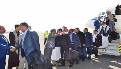 عاجل.. الوفد الوطني المفاوض يصل مطار صنعاء الدولي