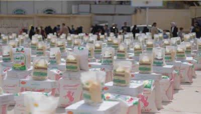 اختتام حملة إغاثة إب بتوزيع ستة آلاف سلة غذائية في الظهار والمشنة